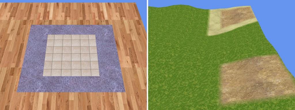 Left: Toy Factory multi-texturing | Right: Deformed, organic multi-texturing