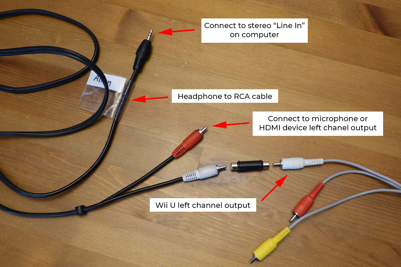 Cables for testing using a basic onboard sound card's Line In
